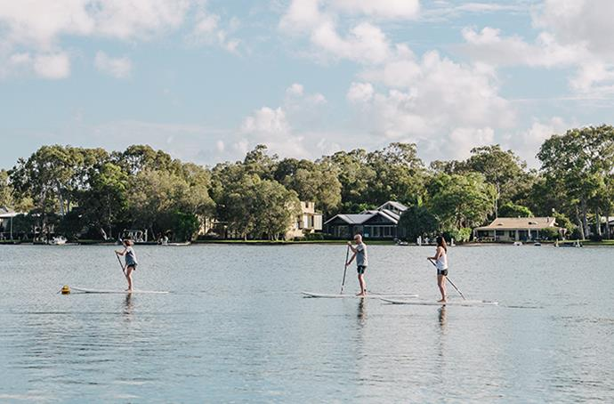 Paddleboarding on the Noosa river.