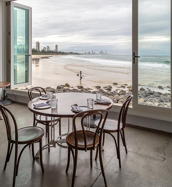 Oceanside fine dining at Rick Shores, Burleigh Heads.
