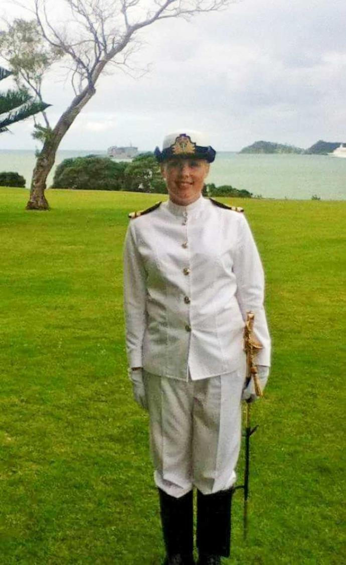 The marine engineer (pictured at the Waitangi Day parade) was let down badly by the navy.