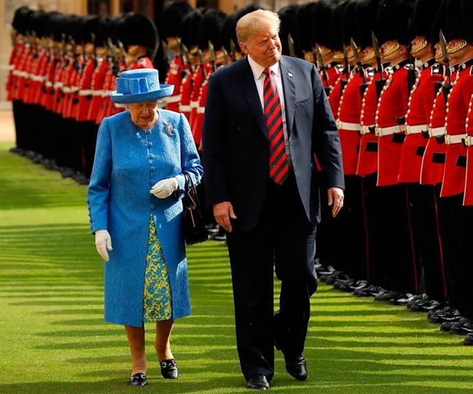 The Queen reportedly joked to the Aussie PM that Trump's helicopters had ruined her lawn. *(Image: Getty)*