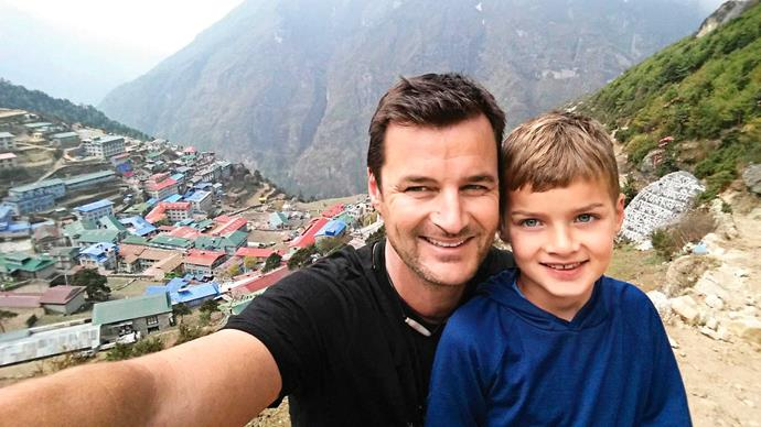 Dylan with Dad in Namche Bazaar aged seven.