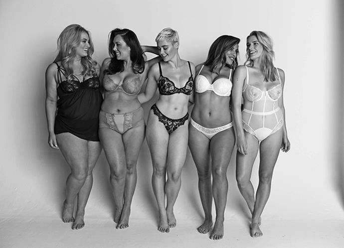 Bella collaborated with Project WomanKIND, founded by Jessica Vander Leahy, for the shoot above, which features Jessica (second from right) with (from left) Sophie Sheppard, Margaret Macpherson, Stefania Ferrario and Olivia Langdon.
