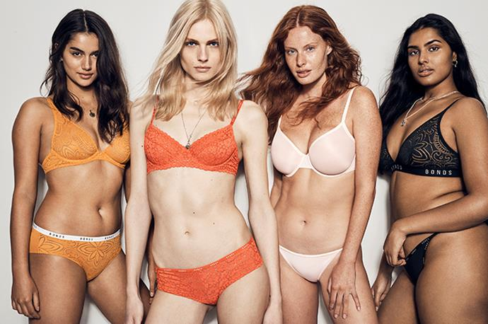 Australian transgender model Andreja Pejic (second from left) fronts the campaign for the Bonds Intimately collection alongside models (from left) Maia Cotton, Madeleine Hunt and Shanaya Peters.