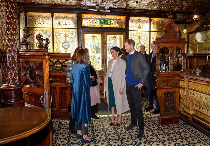 Harry and Meghan at The Crown pub in Northern Ireland in March 2018. *(Image: Getty)*