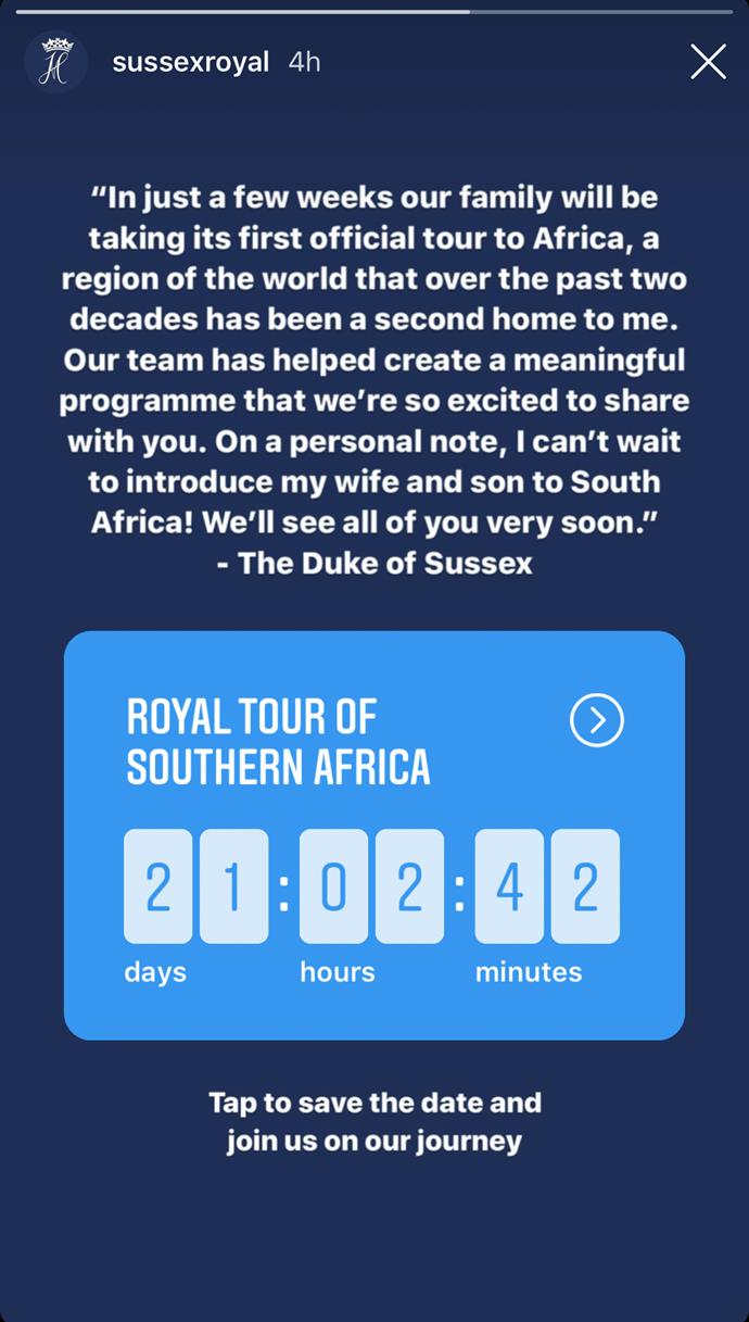 The countdown timer reveals the Sussexes will be heading to South Africa on September 23rd. *(Image: Instagram/@sussexroyal)*
