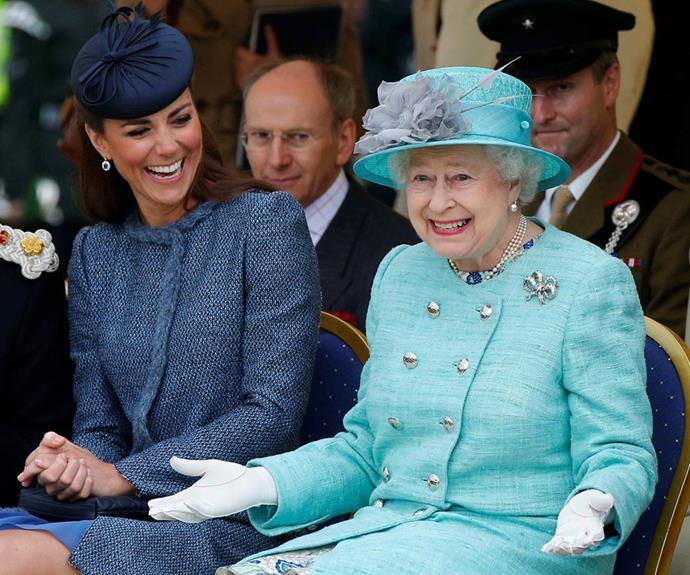 queen elizabeth kate middleton laughing