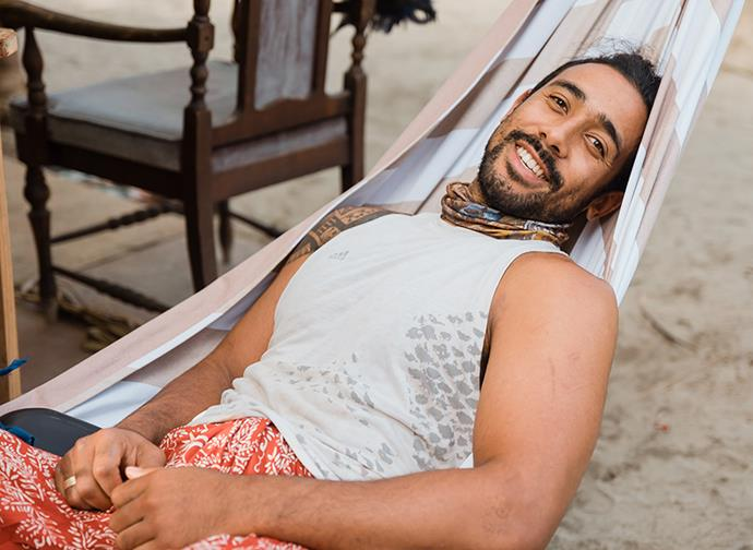 The opera star says he got into the swing of island life easily.
