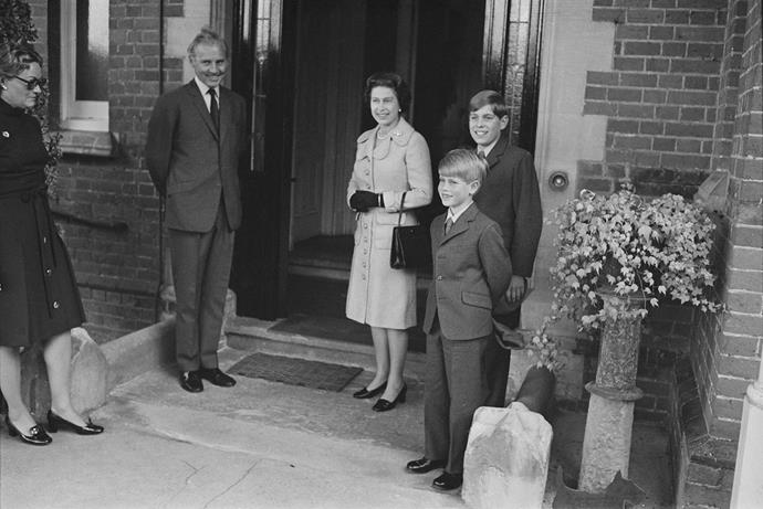 **Prince Edward, 1972** <br><br> Prince Edward (far right) is accompanied by his mother Queen Elizabeth, and his older brother Prince Andrew on his first day at Heatherdown Preparatory School near Ascot. <br><br> *(Image: Getty)*