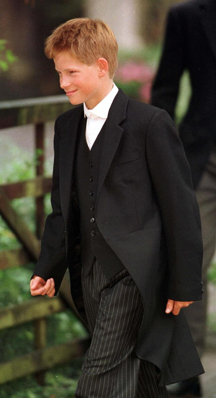 **Prince Harry, 1998** <br><br> Prince Harry looked super smart in the Eton College uniform as he heads to his first day. <br><br> *(Image: Getty)*