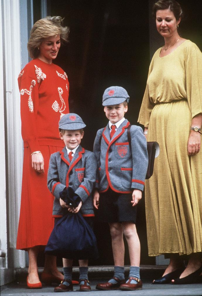 **Prince Harry, 1989** <br><br> Prince Harry (left) looked excited to begin at Wetherby School with his big brother William, where he was dropped off by his mother Princess Diana. <br><br> *(Image: Getty)*