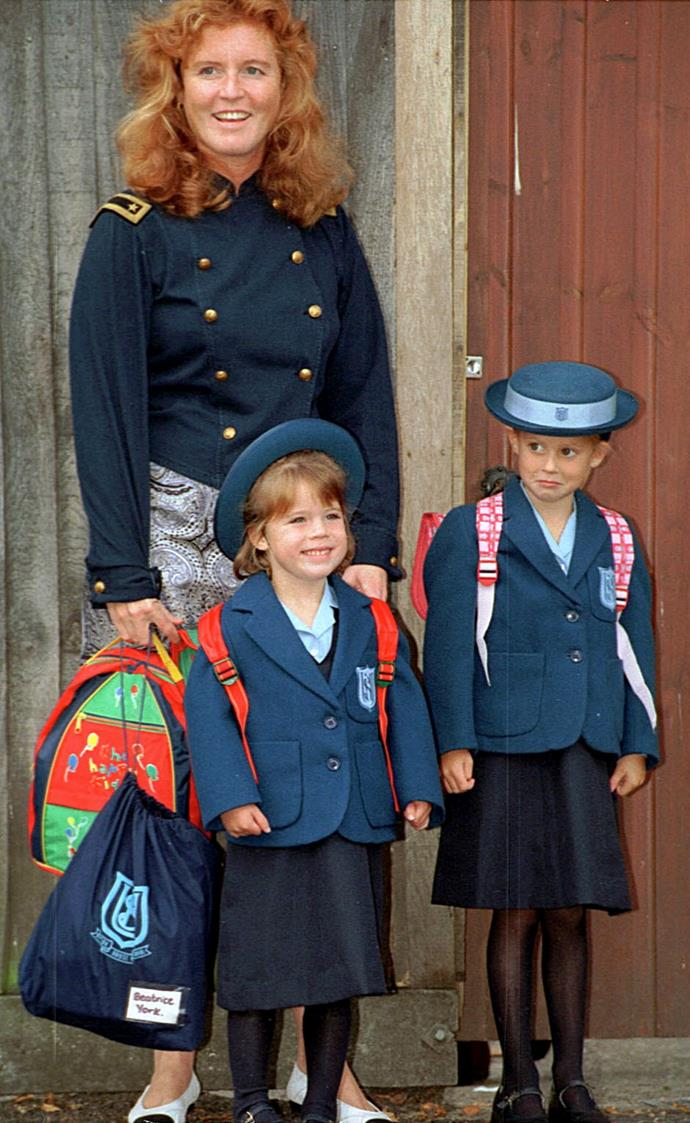 **Princess Eugenie, 1994** <br><br> With her big sister Princess Beatrice (right) already in attendance at Upton House School in Windsor, Princess Eugenie looked like she had no nerves ahead of her first day of school. <br><br> *(Image: Getty)*