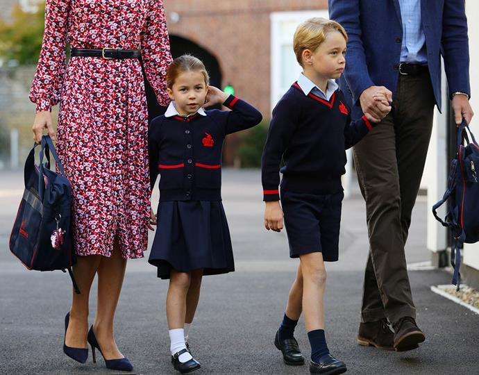 Look closely and you'll see Princess Charlotte's sparkly bag accessory - a sequinned unicorn keychain! *(Image: Getty)*