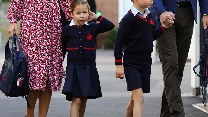 See Princess Charlotte looking cute as a button as she heads to her first day of school