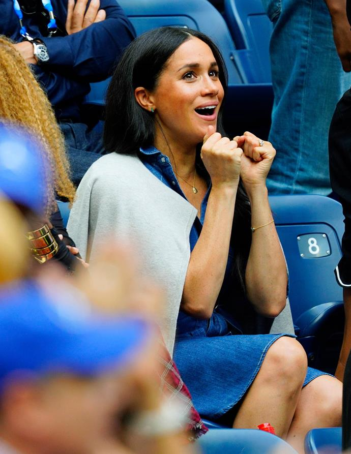 Meghan was at the edge of her seat throughout the final. *(Image: Getty)*