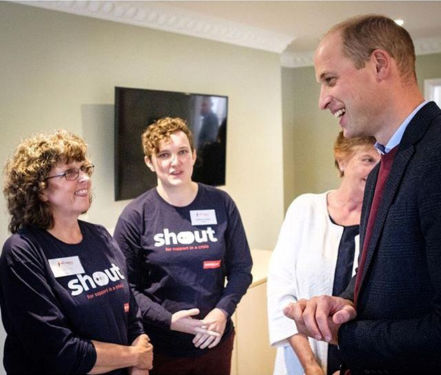Prince William with Shout UK volunteers. *(Image: Instagram/@KensingtonRoyal)*