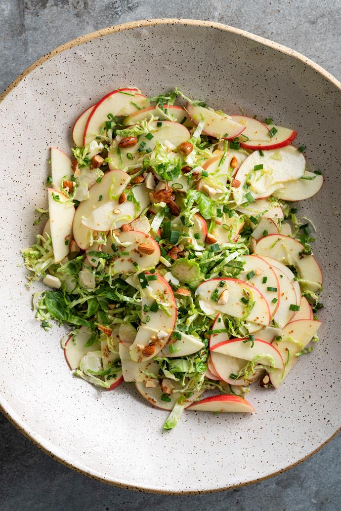 Brussel sprouts, apple and almond slaw