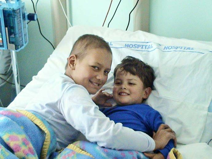 Carson (right) was a bone marrow donor for his sister Elle, who died from leukaemia aged 12.