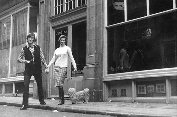 Rodney and Dinah outside Studio Lisa in London 1971.