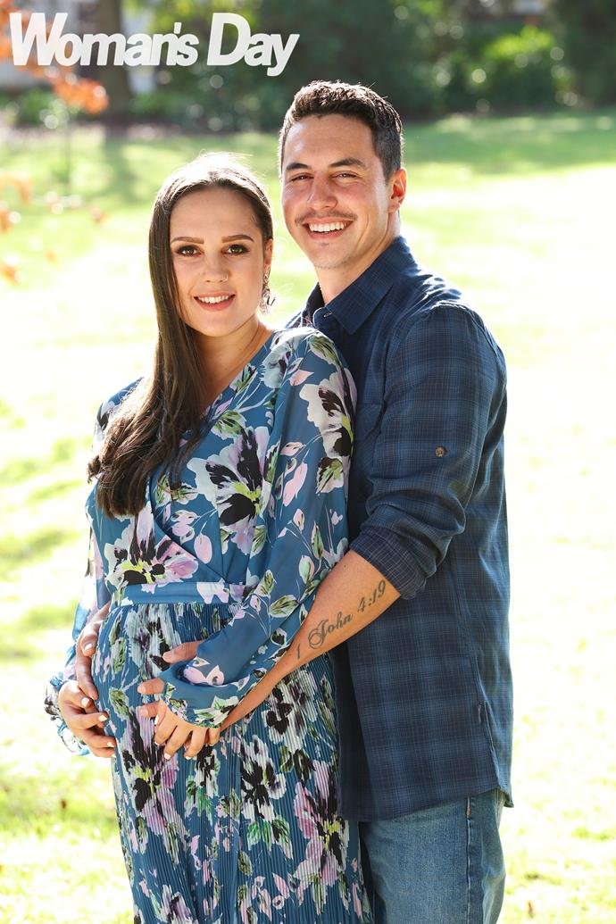 Building a future: Ethan is delighted to be back home with his pregnant partner Mia.