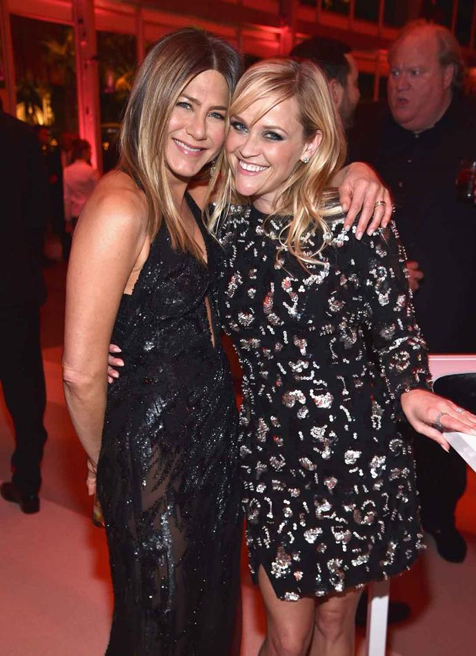 Jen is starring in *The Morning Show* alongside friend and fellow Hollywood trailblazer Reese Witherspoon. *Image: Getty*