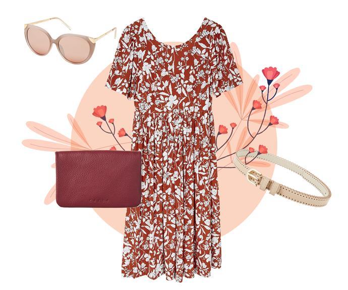 "[Xcesri Maldives cat-eye sunglasses](https://www.farmers.co.nz/xcesri-maldives-cat-eye-sunglasses-6133237|target=""_blank"") $29.99, Whistle floral dress$99.99\*, [Carte zip & dome wallet](https://www.farmers.co.nz/women/handbags-wallets/wallets/carte-carte-zip-dome-wallet-red-6443048|target=""_blank"")$59.99, [Boston & Bailey scalloped–edge belt](https://www.farmers.co.nz/women/accessories/belts/boston-bailey-scalloped-edge-belt-nude-6368656|target=""_blank""|rel=""nofollow"") $19.99"