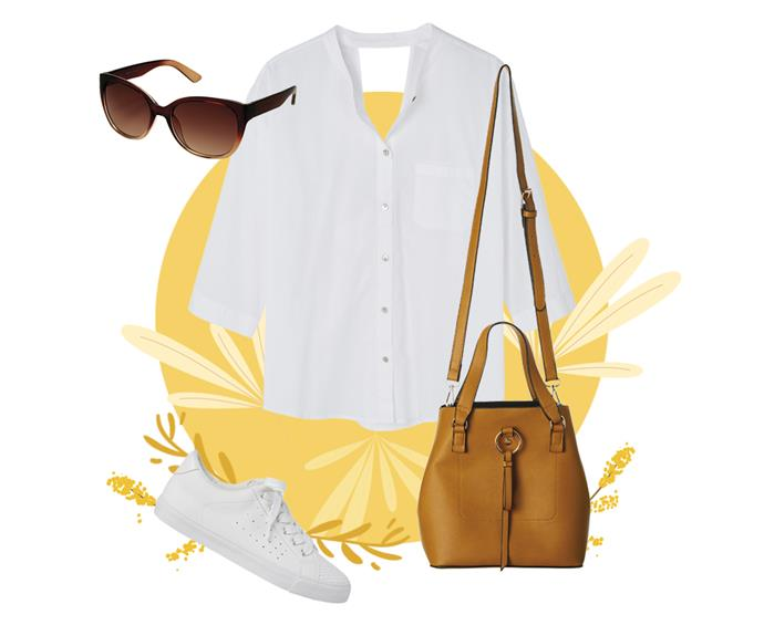 "[Xcesri Tenerife ombre cat–eye sunglasses](https://www.farmers.co.nz/women/accessories/fashion-accessories/xcesri-tenerife-ombre-cat-eye-6133989|target=""_blank""), $39.99, [Mineral wanderlust white shirt](https://www.farmers.co.nz/women/mineral-wanderlust-3-4-sleeve-shirt-white-6451420006