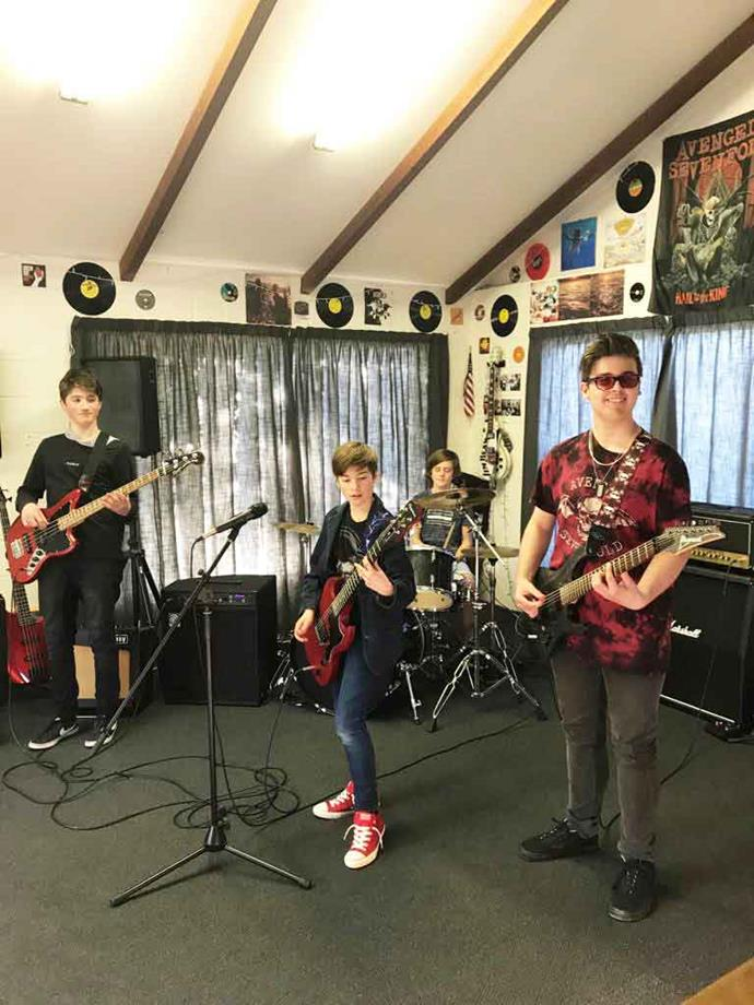 Jack with his his Singularity band members Angus, Sam and Charlie.