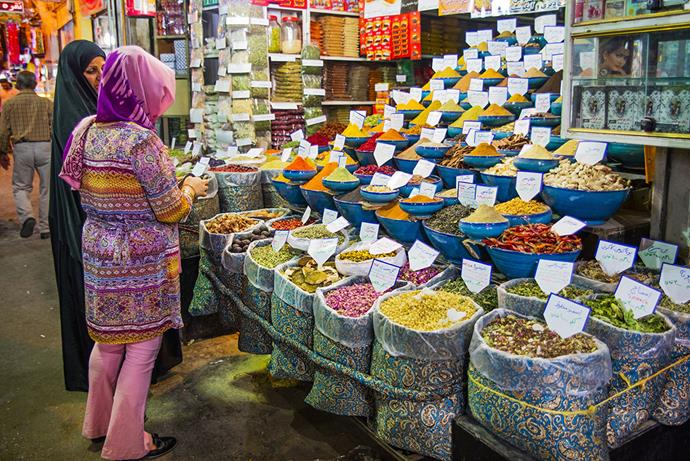Colourful displays of fragrant spices are found in local bazaars.