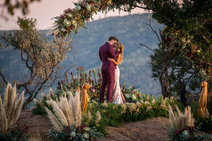 Matt and Chelsie seal their love with a kiss against a stunning South African backdrop.