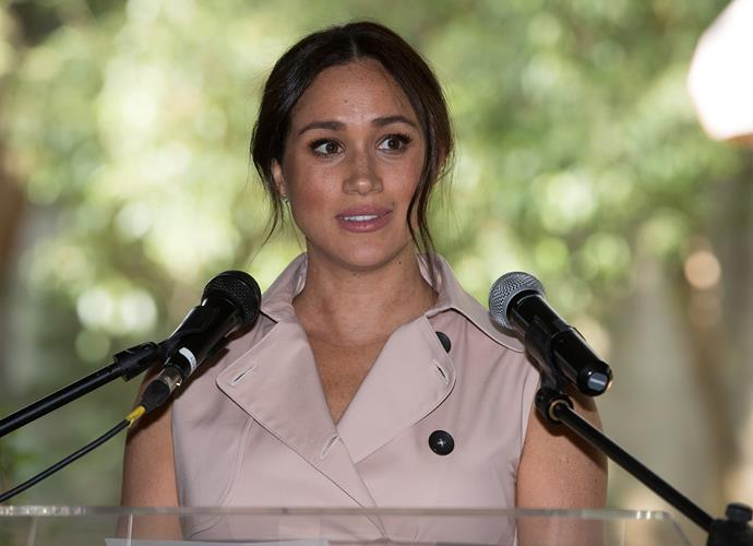 Meghan gave a rousing speech and reflected on her time spent in South Africa. *(Image: Getty)*