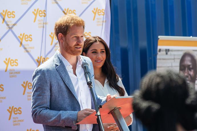 "Harry vows to ""firmly stand up for what we believe"" during his speech at the YES Hub in Tembisa, Johannesburg. *(Image: Getty)*"
