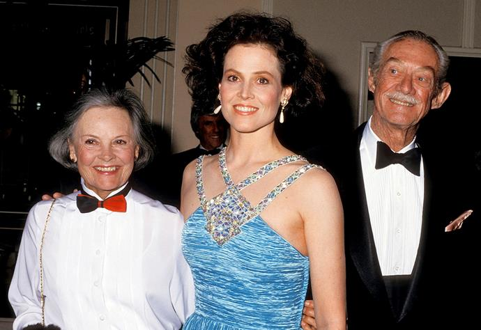 With her parents Elizabeth and Sylvester.