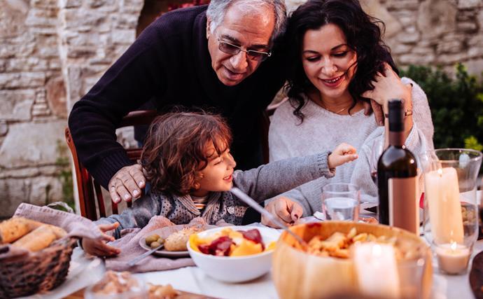 family eating Mediterranean diet