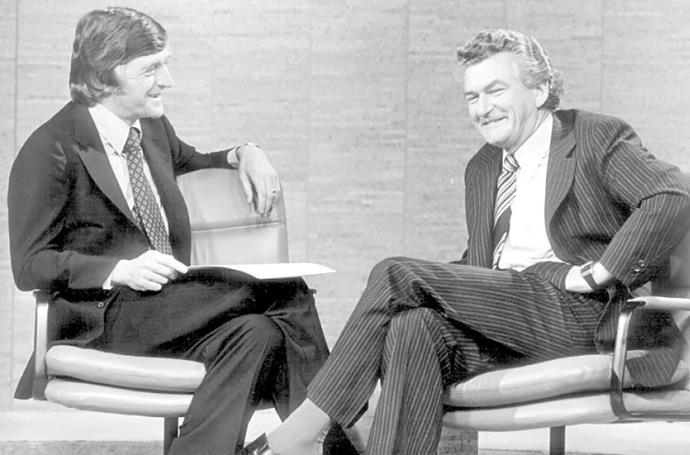 Michael interviewing Bob Hawke.