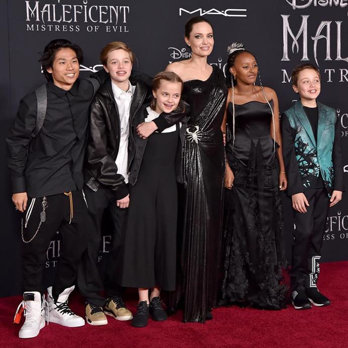 Five out of six of Angelina's children joined her at the world premiere of her newest movie Maleficent: Mistress of Evil. *Image: Getty*