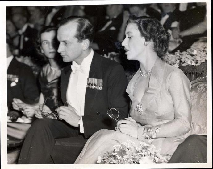 Princess Margaret with Helena's uncle Mark Bonham Carter at the premiere of *Kiss Me Kate* in 1954. *(Image: Shutterstock)*