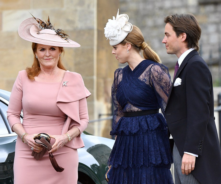 The engaged couple with Beatrice's mother, Sarah Ferguson. *(Image: Getty)*