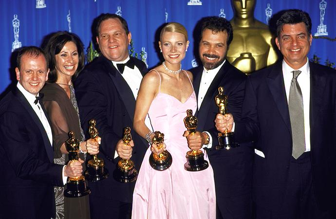 Gwenyth with Harvey Weinstein and the producers of Shakespeare in Love at the Academy Awards in 1999.