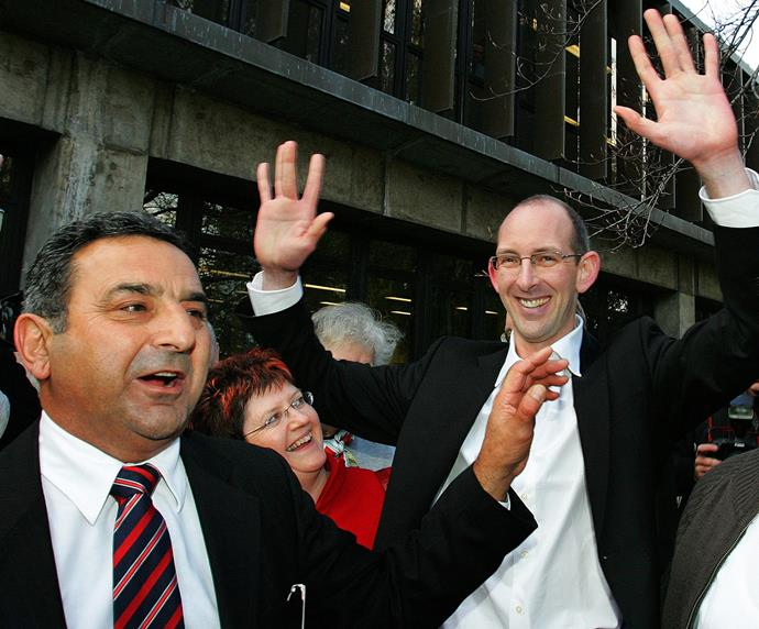 Joe Karam with David on his release on bail in 2007.