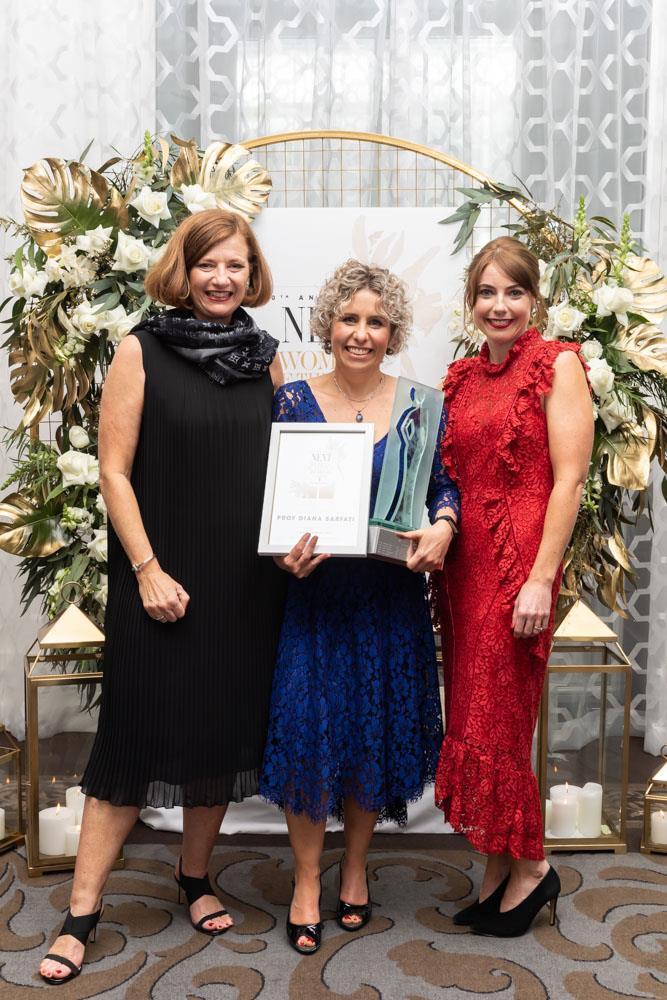 Elizabeth Arden General Manager Valerie Riley, Supreme winner Diana Sarfati, NEXT editor Nicola Dewe
