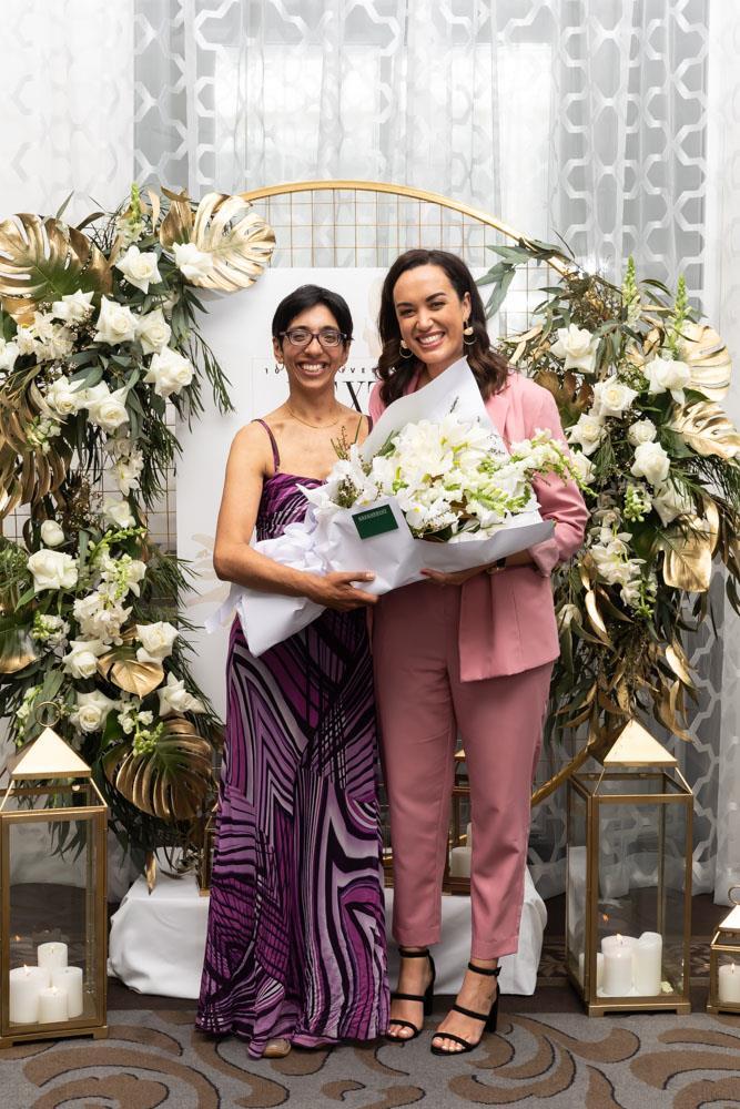 Sport winner Neelu Jennings with judge Kanoa Lloyd
