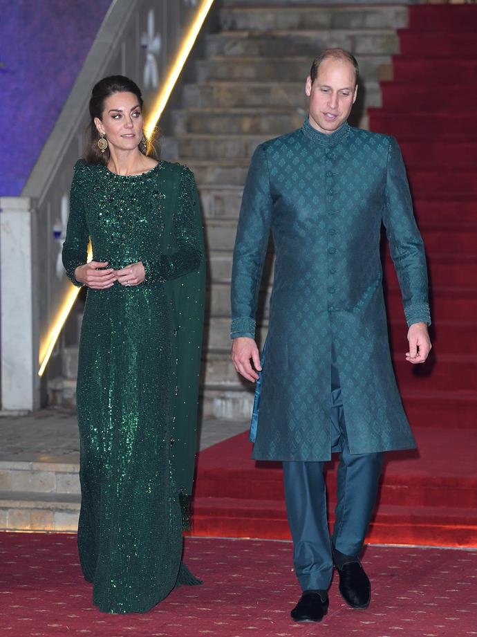 Prince William took a break from his usual suits, opting for a traditional sherwani, which marks a first for a British royal. *(Image: Getty)*