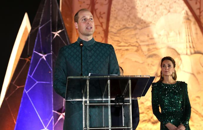 Prince William spoke about education for girls and climate change and said he and Kate were enjoying the food and hospitality during their time in Pakistan so far. *(Image: Getty)*