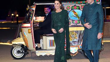 Duchess Catherine and Prince William arrive by tuk-tuk to a glamorous event in Pakistan