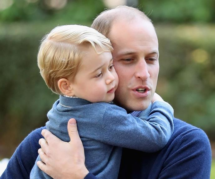 prince george hugging prince william
