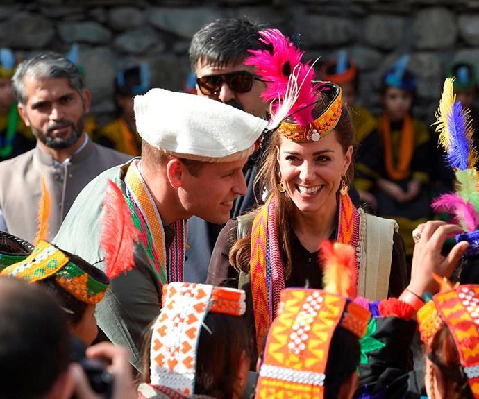 kate middleton smiling prince william pakistan village