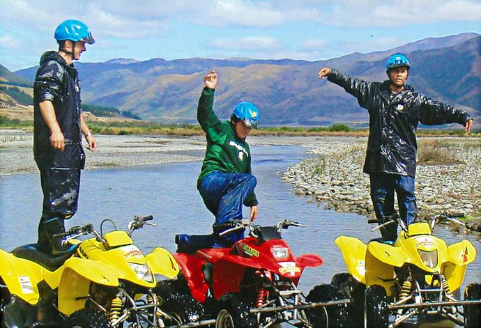 The thrill-seeking brothers and Ray's mate Kayne (far right) in Hanmer the weekend before Jamie's fatal crash