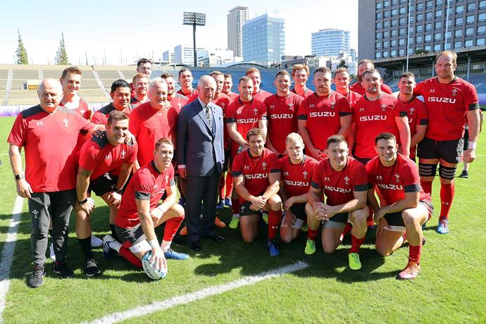 Prince Charles visits the Welsh rugby team as they train for their upcoming semi-finals match as part of the Rugby World Cup. *(Image: Getty)*