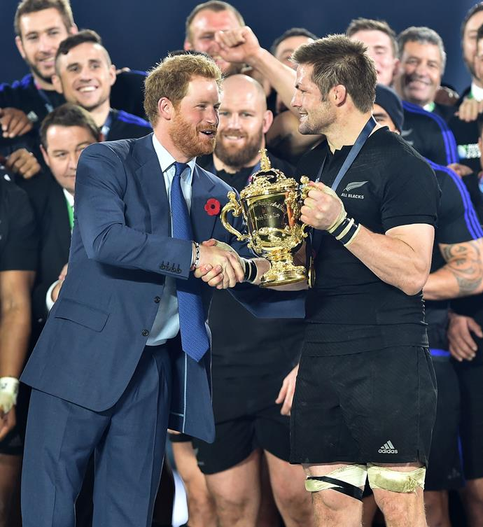 Prince Harry will be hoping to hand the Webb Ellis Cup to England this year, as he did for New Zealand when we won in England in 2015. *(Image: Getty)*