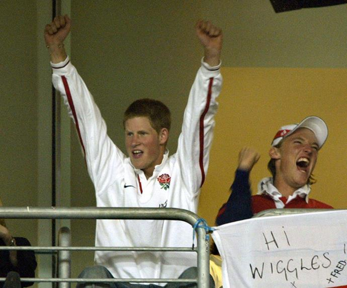 prince harry cheering rugby